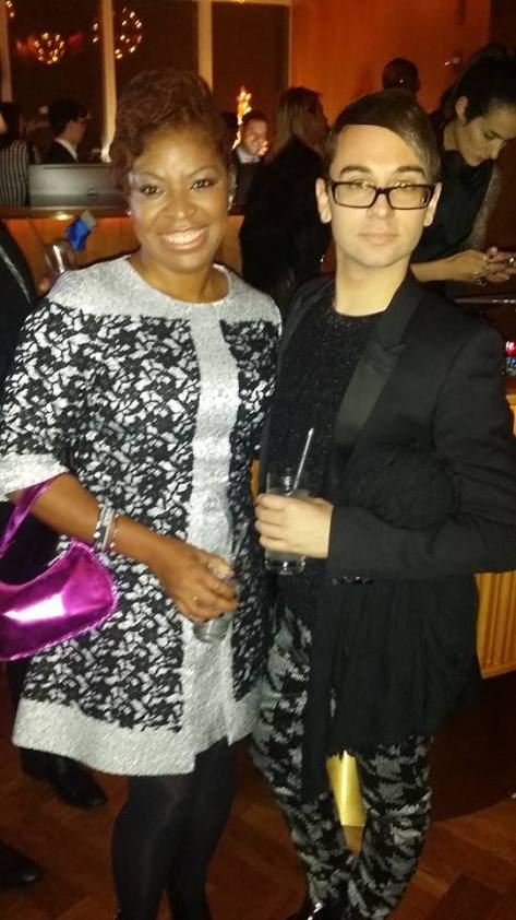 (L) StyleFusionWorld Editor in Chief, Anique Monae (R) Designer Christian Siriano