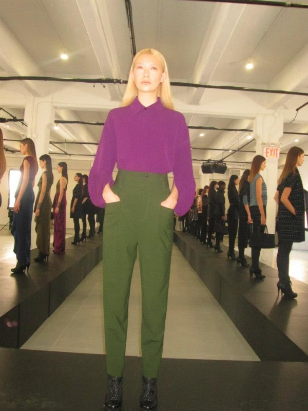 Aubergine silk crepe blouse, absinthe high waist wool trousers.