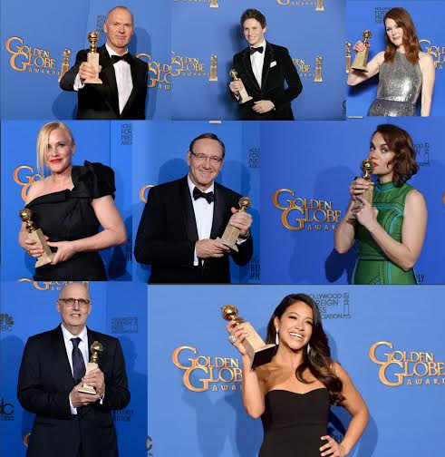 "The awards for motion pictures went to (L-R top) Michael Keaton ""Birdman"", Eddie Redmayne ""The Theory of Everything"", Julianne Moore ""Still Alice"". (L-R center) Patricia Arquette ""Boyhood"", Kevin Spacey for ""House of Cards"", and Ruth Wilson for ""The Affair"". (L-R bottom) Jeffrey Tambor for his portrayal in ""Transparent"" and veteran Gina Rodriguez with a surprising win being recognized in the TV comedy ""Jane the Virgin""."