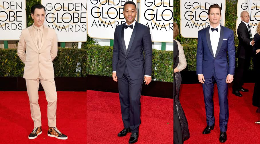 The leading ladies aren't the only ones who lit up the red carpet.  From traditional, to bold and rich in color, the men brought their A-game. (L-R) Alan Cumming in Calvin Klein fresh from runway, John Legend in Urbane traditional navy tux. Matt Boomer in Ralph Lauren Black Label tux.