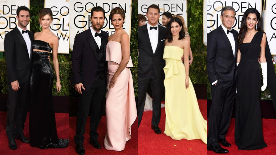 (L-R) Adam Levin in Dior tuxedo and Behati Prinsloo in Kaufman Franco. Matthew McConaughey in Dolce & Gabbana,  and wife Camila Alves in Monique Lhuillier. Channing Tatum looking also in Dolce & Gabbana and his wife Jenna Dewan-Tatum in Carolina Herrera. George Clooney in Armani and the lovely Amal Clooney in Dior.