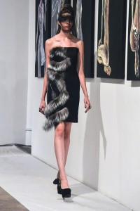 Neoprene and Fox fur trim leather dress